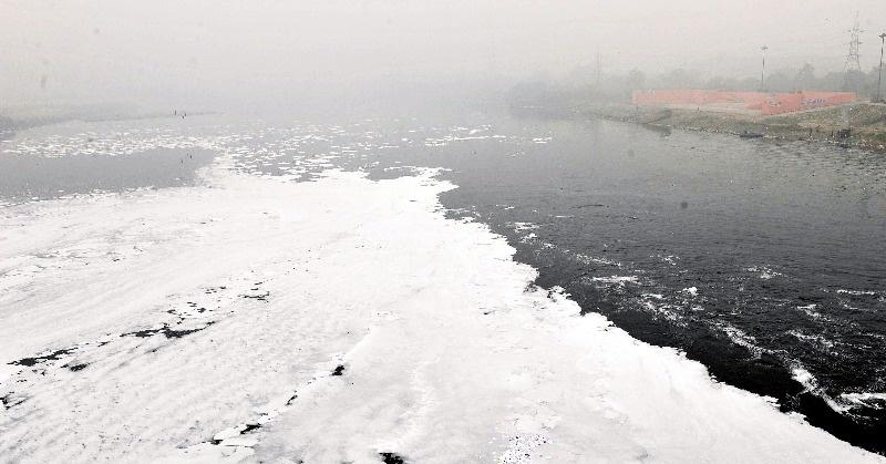 It's Not Snow But The Polluted Yamuna River In Delhi That Is Filled With Toxic Foam, Again