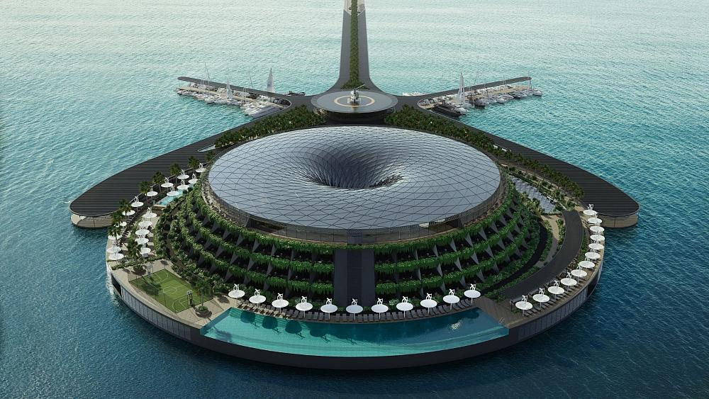 This floating hotel will generate electricity by rotating all day