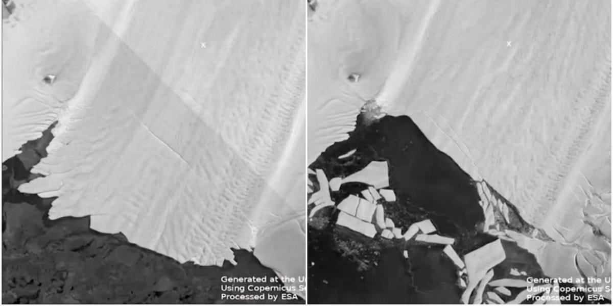 Time-lapse video shows the ice shelf of one of Antarctica's largest glaciers breaking into large chunks