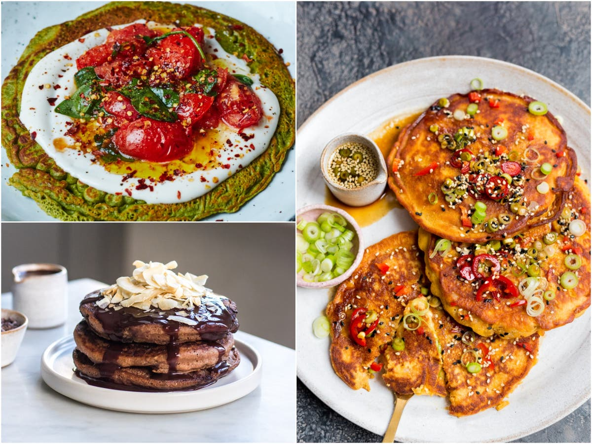 Vegan pancake recipes from Deliciously Ella: Kimchi, spinach and triple chocolate